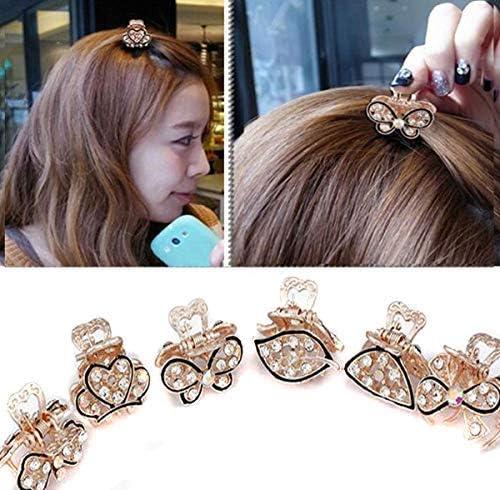 Suoirblss 6PCS Rhinestone and Crystal Metal Jaw Claw Hair Clip Small Butterfly Design Barrettes for Girls Women Lady 商品カテゴリー: ヘアアクセサリー [並行輸入品]