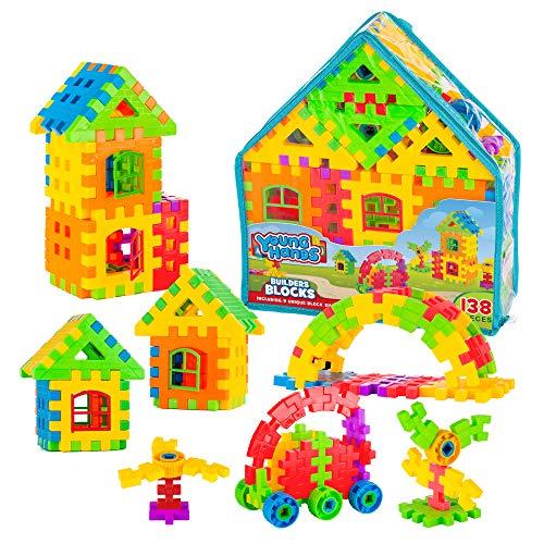 Creative Kids Interlocking Building Block Play Set for Kids w/ 138 Unique, Colorful Bricks & Convenient Carry Backpack - Educational Construction Kit for Preschool, Kindergarten & More Ages 3+