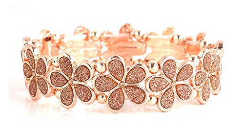 NLCAC Crystal Bracelet Bridal Bangle Bracelet Druzzy Beads Elastic Bracelet for Wedding (Flower Rose Gold)
