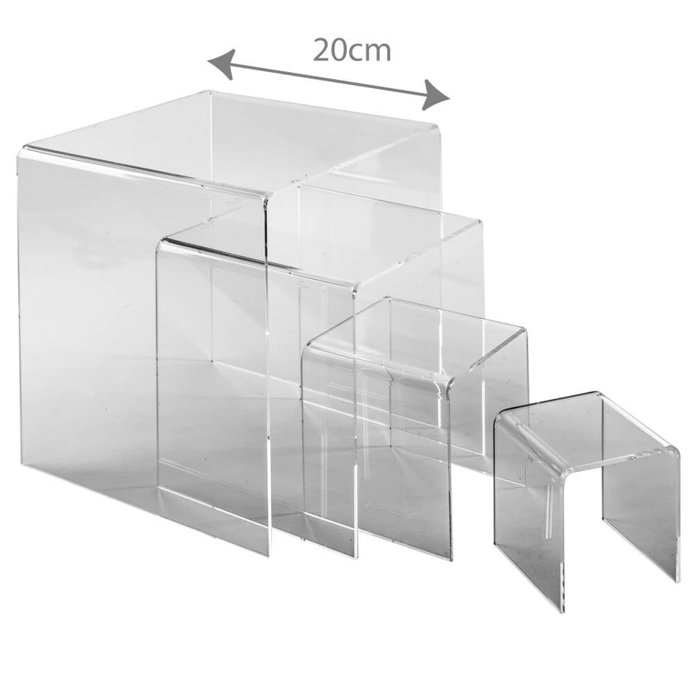 3D Displays Clear Acrylic 3 Sided Riser/Lift / Display Stand SET for Retail/Shop / Jewellery/Museum /Exhibition Point of Sale Displays Set comprises of 1 each of 7.5cm, 10cm, 15 cm & 20cm C