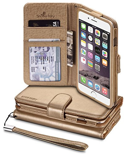 iPhone 6s (4.7) Cases, iPhone 6 (4.7) [Snow Fairy] Flip Cover Case [Premium Synthetic Soft Leather Wristlet Series][Card Holder][Wallet] - [Leather Fit] Wrist Strap Cases Gold