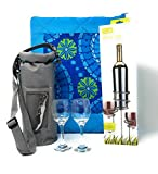 Multiple Picnic Blanket & Wine Stakes Set-8 Piece Bundle-Reversible Outdoor Blanket Tote, Wine Bottle &Glass Sticks, Insulated Wine Tote + 3 Accessories