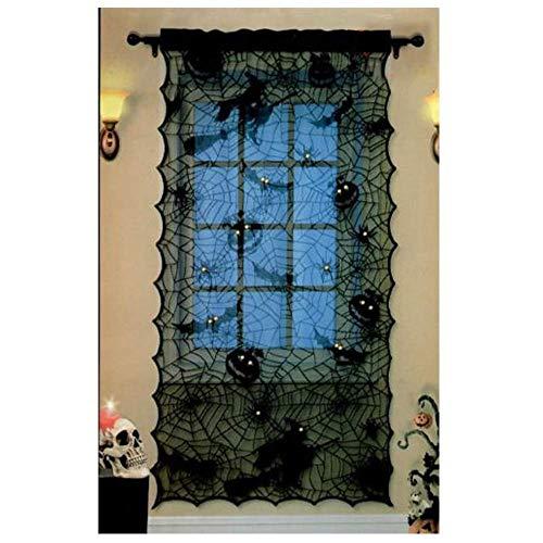 Halloween Decoration,Black Bats Spider Witch Halloween Lace Window Curtain, Halloween Spooky Lace Web Curtain Panel Halloween Party Window Door Decor 42