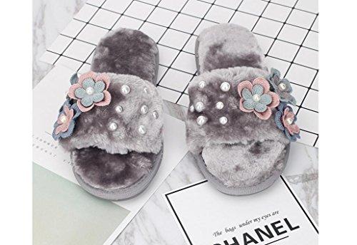 Beauqueen Bricolage artificiel perle fleurs Crochet Fleurs en laine Flush Flop Femmes Automne et Hiver Accueil Chaussons , 38