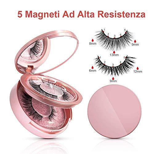 Ciglia Magnetiche con Eyeliner Magnetico Eroaddict Ciglia magnetiche 3D Naturali Ciglia Finte con Pinzette Impermeabile Eyeliner Pen Magnetico Magnetiche Riutilizzabili Con 5 Magneti(2 paia)