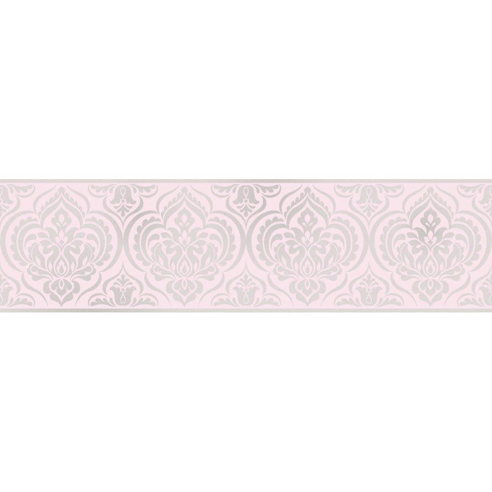 Fine Decor Glitz Ornimental Damask Wallpaper Border Pink & Silver - DLB50152