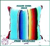 Aqua Blue Mexican Pillow Cover 18x18, Serape Pillow, Tribal, Decorative Cushion, Mexican Cushion Cover, PCSIMPLE17