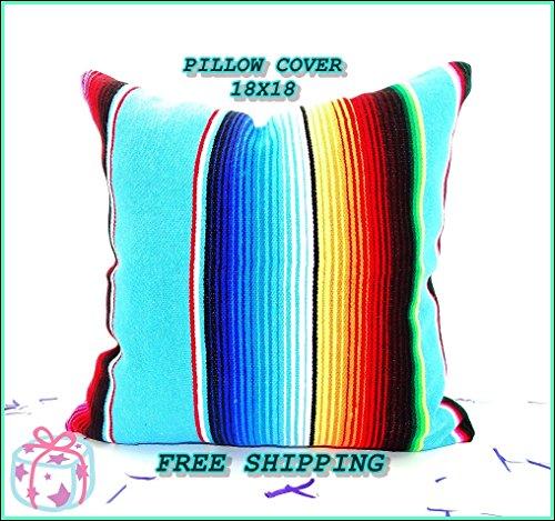 Aqua Blue Mexican Pillow Cover 18x18, Serape Pillow, Tribal, Decorative Cushion, Mexican Cushion Cover, PCSIMPLE17 by MexFabricSupplies