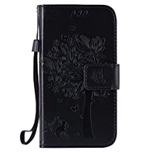 SZYT Phone Case for Samsung Galaxy Core Prime G360 / Samsung Galaxy Prevail LTE Imprint Pattern Cat and Tree with Black Handle Black
