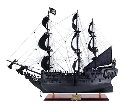 Old Modern Handicrafts Black Pearl Pirate Ship Wood Model,