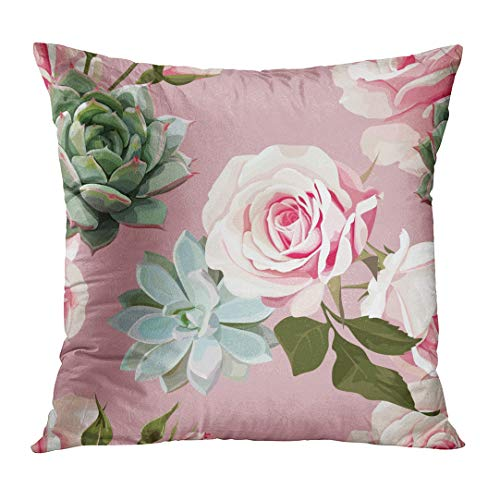 TOMKEYS Throw Pillow Cover Green Agave Succulents and Roses of Floral with Dusty Pink Flowered White Botanical Botany Decorative Pillow Case Home Decor Square 18x18 Inches Pillowcase