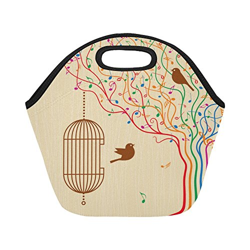 (InterestPrint Birdcage On The Musical Tree Reusable Insulated Neoprene Lunch Tote Bag Cooler 11.93