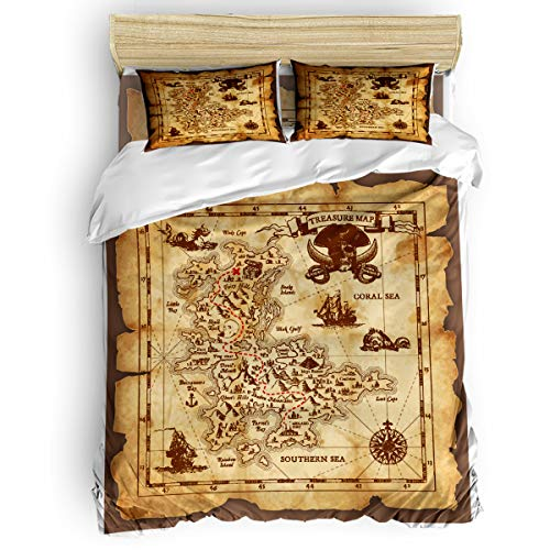 Verchant Queen Size Bedding Duvet Cover Set Pirates of The Caribbean Treasure Map 4 Piece Luxury Microfiber Down Comforter Quilt Cover with Zipper Closure, Ties - Modern Style for Men and Women