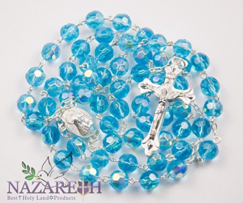 Catholic Rosary With Light Blue Crystals Beads Handmade Necklace Virgin Mary & Crucifix From Jerusalem by Holy Land Gifts