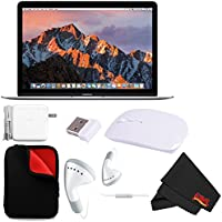 Apple 12 MacBook (Mid 2017, Silver) (MNYJ2LL/A) + MicroFiber Cloth + 2.4 GHz Slim Optical Wireless Bluetooth Bundle