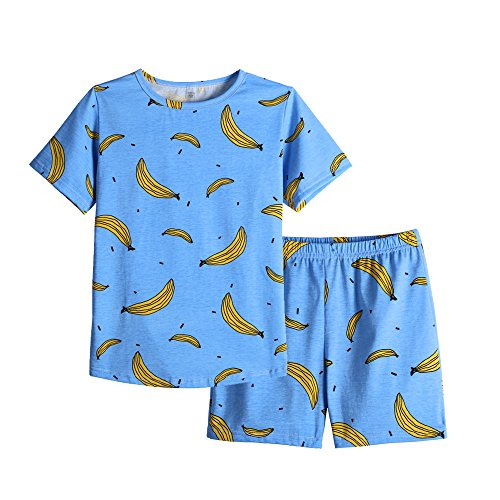 MyFav Girls Cute Banana Summer Pajama 2 Pieces Casual Sleepwear 6-14 Years Child by MyFav