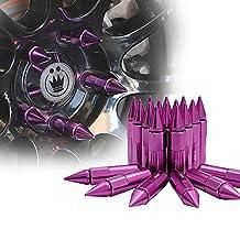 Xprite Purple Aluminum Mounted 90mm Spike Extended Nut Refit Wheel Lug Nuts / Tire Screw M12x1.5
