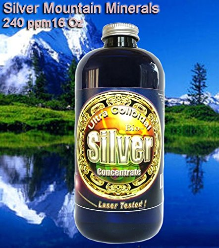 Liquid Silver Solution,16 oz., 240 PPM , Silver Mountain Minerals, (Medical Purity Silver most Bioavailable colloidally suspended nano particles)