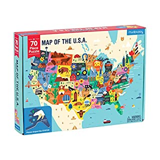 """Mudpuppy Map of The United States of America Puzzle, 70 Pieces, 23""""x16.5, Ideal for Kids Age 5+, Learn All 50 States by Name & Capital, Double-Sided Geography Puzzle with Pieces Shaped Like The State"""