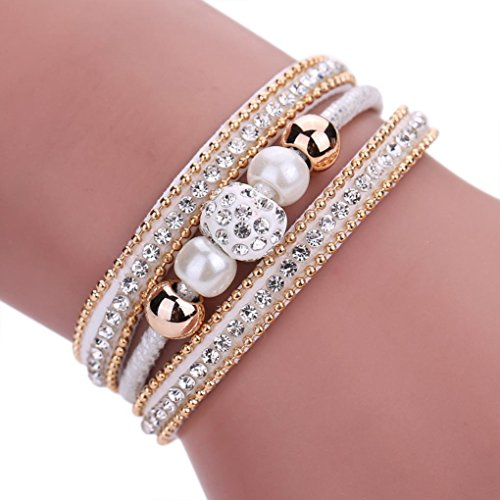 UPC 646578825074, AutumnFall Women Bohemian Bracelet Woven Braided Handmade Wrap Cuff Magnetic Clasp (White)
