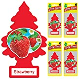 LITTLE TREES Car Air Freshener | Hanging Tree Provides Long Lasting Scent for Auto or Home | Strawberry, 6-packs (4 count)