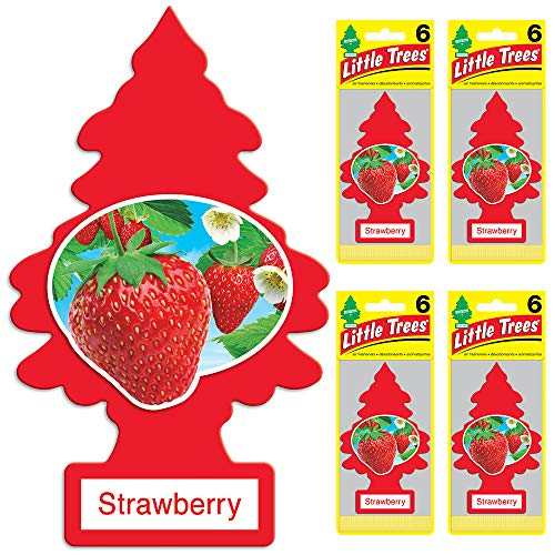 LITTLE TREES auto air freshener, Strawberry, 6-packs (4 count) ()