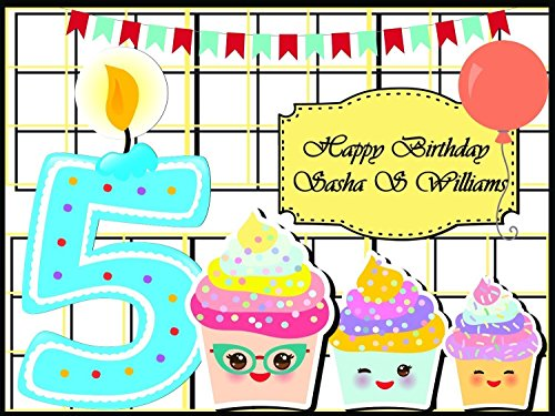 Custom Home Decor Number Candle & Emoji Cupcakes Birthday Poster for Kids - Size 24x36, 48x24, 48x36 Personalized Winking Emoji Cupcakes Birthday Banner Wall Décor, Handmade Party Supply Poster Print