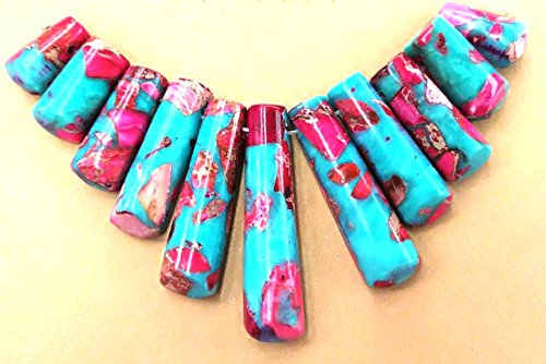 - 1set 11pcs 20-50mm Natural Sea Sediment Imperial Jasper Stone multicolor Rectangle Column bead Graduated Necklace pendant