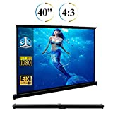 40 inch Projector Screen, 40'' Diagonal 4:3 Projection HD Anti-Crease Portable Tabletop Screen for Home Theater Travel PPT Business Presentation Outdoor Indoor