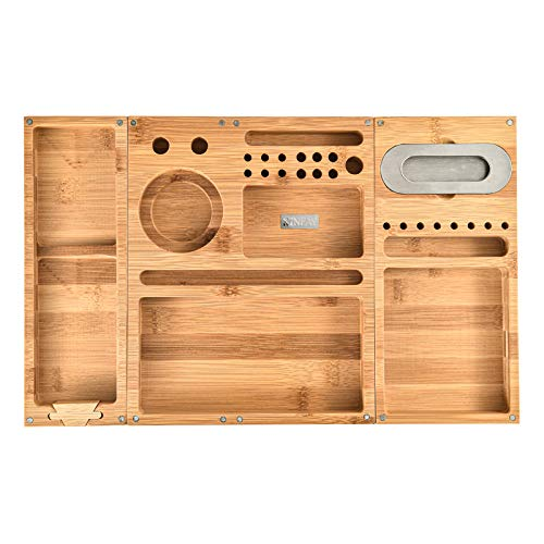 Bamboo Rolling Tray Combo Kit with Herb Grinder Doob Tube Rolling,Removable Magnet 3 Compartments,Christmas Gift for Women Men