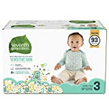 : Seventh Generation Baby Diapers for Sensitive Skin, Animal Prints, Size 3, 93 Count
