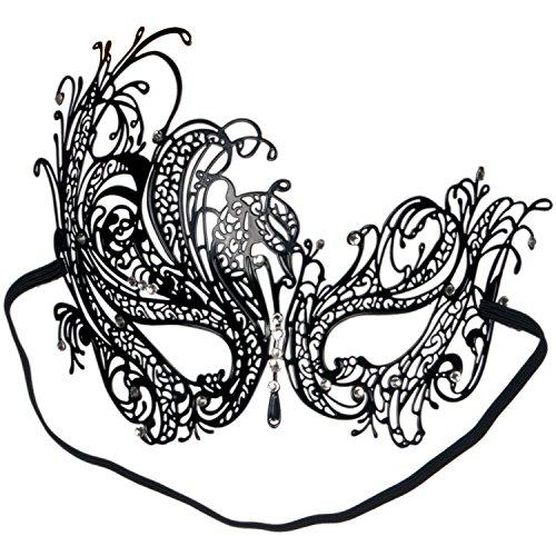 Loftus International Loftus Sultry Jewel Metal Masquerade Laser Cut Half Mask, One-Size, Black Novelty Item ()