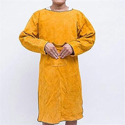 Joyutoy Welding Bib Apron Cowhide Split Leather Safety Apparel Flame Resistant Apron With Pocket Yellow