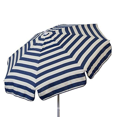 Euro 6 foot Umbrella Acrylic Stripes Navy & Vanilla - Beach Pole