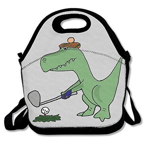 Xiisxin Dinosaur Playing Golf Lunch Tote Bag - Large & Thick Insulated Tote - Suit For Men Women Kids