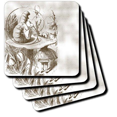 cst_110199_1 PS Vintage - Caterpillar on Mushroom Vintage Alice in Wonderland - Coasters - set of 4 Coasters - Soft