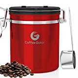 Medium Coffee Canister - Keeps Coffee Delicious for Longer - Free Stainless Steel Scoop - Premium Quality Coffee Gator Container (Medium, Red)