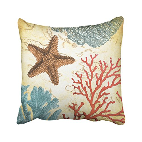 Caribbean Pillowcase - Pakaku Throw Pillows Covers For Couch/Bed 18 x 18 inch,Tropical Colorful Caribbean Starfish And Coral Home Sofa Cushion Cover Pillowcase Gift Decorative Hidden Zipper Design Cotton And Polyester