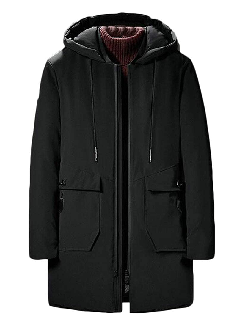 JSY Mens Trendy Cotton Padded Hooded Solid Color Fleece Plus Size Pea Coat