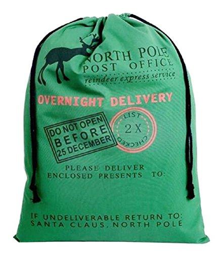 (Large Christmas Bags Santa Sacks ~ Reusable Cotton Sack Designs - Green North Pole Post Office Design - 27