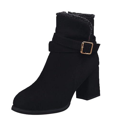 Botines tacón cuña Ancho para Mujer Otoño Invierno 2018 Moda PAOLIAN Botas Militares Negro Zapatos de Terciopelo Señora Fiesta Botas Chelsea Calzado Dama ...