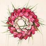 LSKY-11-Inch-Tulip-Wreath-with-48-Tulip-Flower-Heads-Door-Wreath-Tulip-Grass-Wreath-for-Front-DoorFarmhouse-WreathRustic-WreathGrapevine-WreathWindow-DecorationPink