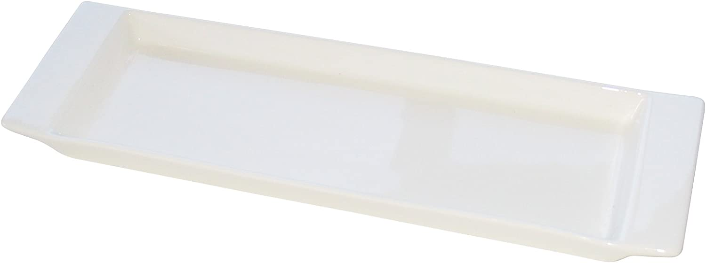 Eñe Fuente Rectangular, 22 cm, Porcelana, Blanco