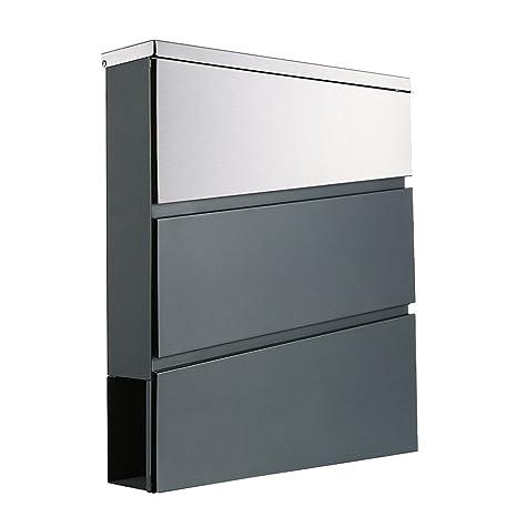 Buzón de acero inoxidable gris antracita RAL7016 ...