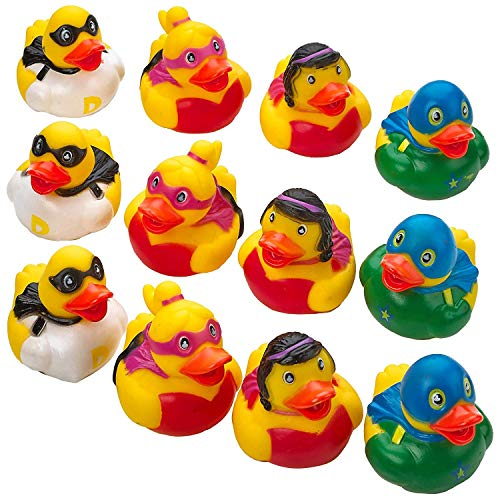 Kicko Superhero Ducks 2 Inches - Pack of 12 - Assorted Colorful Superhero Rubber Duckies - for Kids Great Party Favors, Bag Stuffers, Fun, Bathtub Toys, Gift, Prize