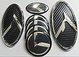 Exotic Store 7 Pieces 2011-2015 Fit for KIA OPTIMA K5 3D Carbon Fiber Chrome Black WING Logo Front+ Trunk+ Steering wheel+ Rim center Caps Stickers TURBO Kit Emblem Badges (Fiber)
