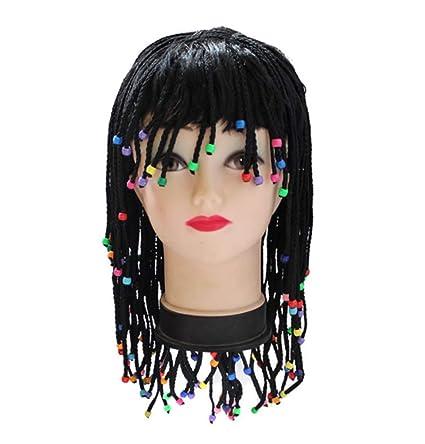 Mujer De Halloween Peluca Trenzado Trenzas Moda Pelo Largo Cos Party Ball Props Alta Temperatura Negro