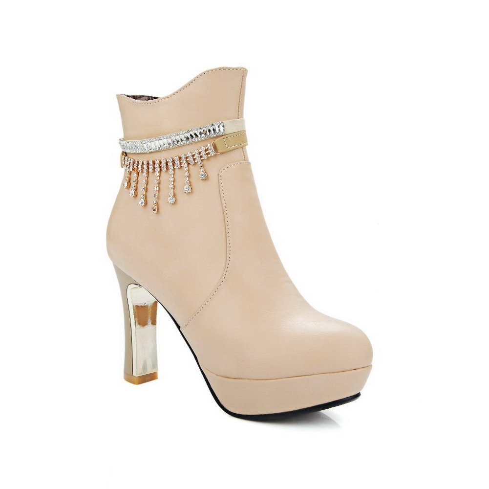 WeenFashion Women's Zipper Low Top Closed Toe Pu High-Heels Boots with Metal, Beige-Glass Diamond, 37