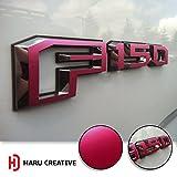 ford truck f150 pink emblem - Haru Creative - Ford F-150 (2015 2016 2017) Fender Side Door Letter Insert Overlay Vinyl Emblem Decal - Metallic Matte Chrome Pink