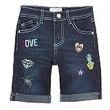 Mini Moca Big Girls Dark Blue Denim Embroidery Detail Bermuda Shorts 10